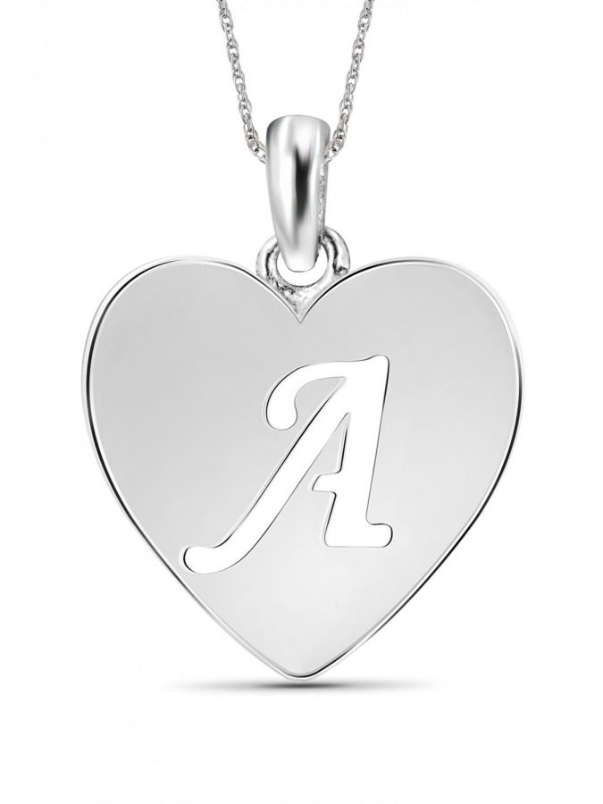 Jewelers+Sterling+Silver+Initial+Heart+Pendant