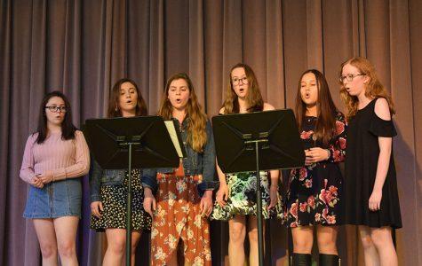Eleanor Shori (10), Mia Flowers (9), Adra Milazzo (9), Ariana Schmitt (9), Katie Curran (9) and Elizabeth Miller (9) perform their ensemble piece, photo by Ashlea McIntire