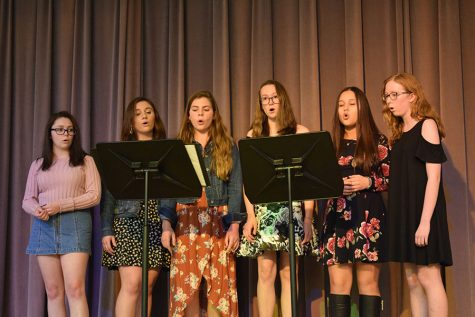 Eleanor Shori (10), Mia Flowers (9), Adra Milazzo (9), Ariana Schmitt (9), Katie Curran (9) and Elizabeth Miller (9) perform their ensemble piece, photo by Ashlea McIntire