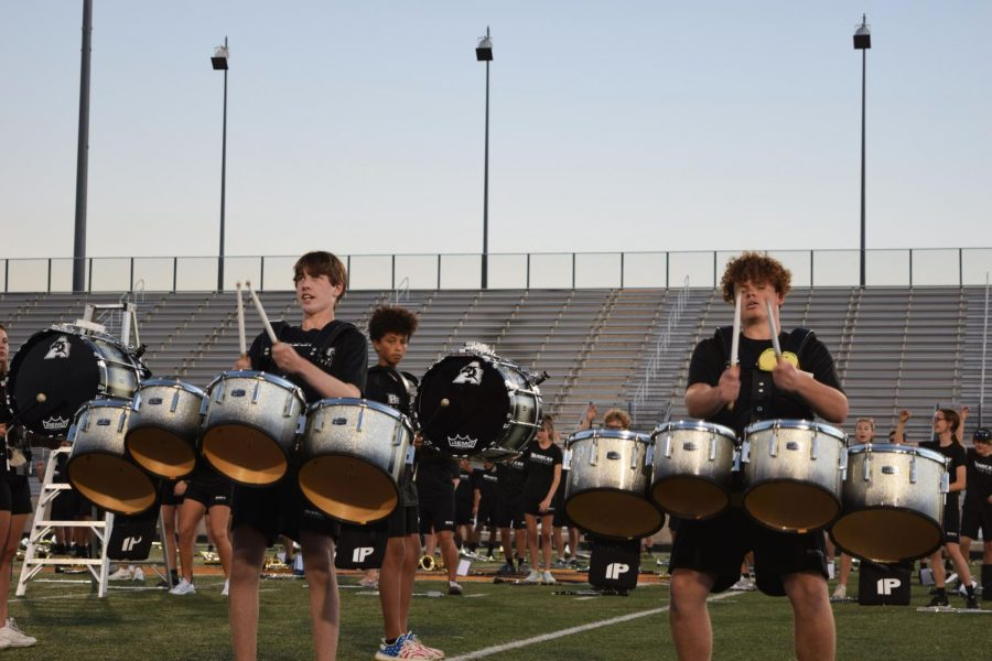 The drum line performs crowd favorites, as evidenced by the dancing in the stands and in the rest of the band.