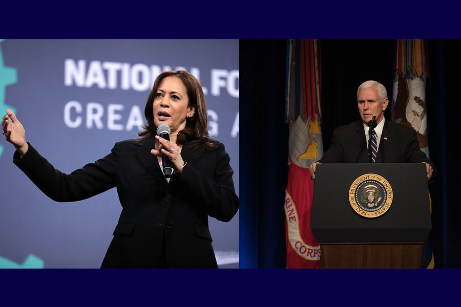 U.S. Senator Kamala Harris speaking with attendees at the 2019 National Forum on Wages and Working People hosted by the Center for the American Progress Action Fund and the SEIU at the Enclave in Las Vegas, Nevada.  U.S. Vice President Mike Pence speaks during a Missile Defense Review in the Pentagon Auditorium, Washington, D.C., Jan. 17, 2019.