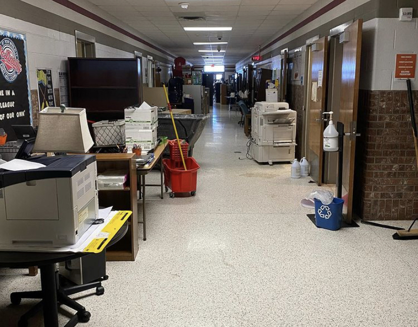 Furniture and equipment line the halls of McAnally Intermediate following flooding caused by burst pipes during last week's snow storm.
