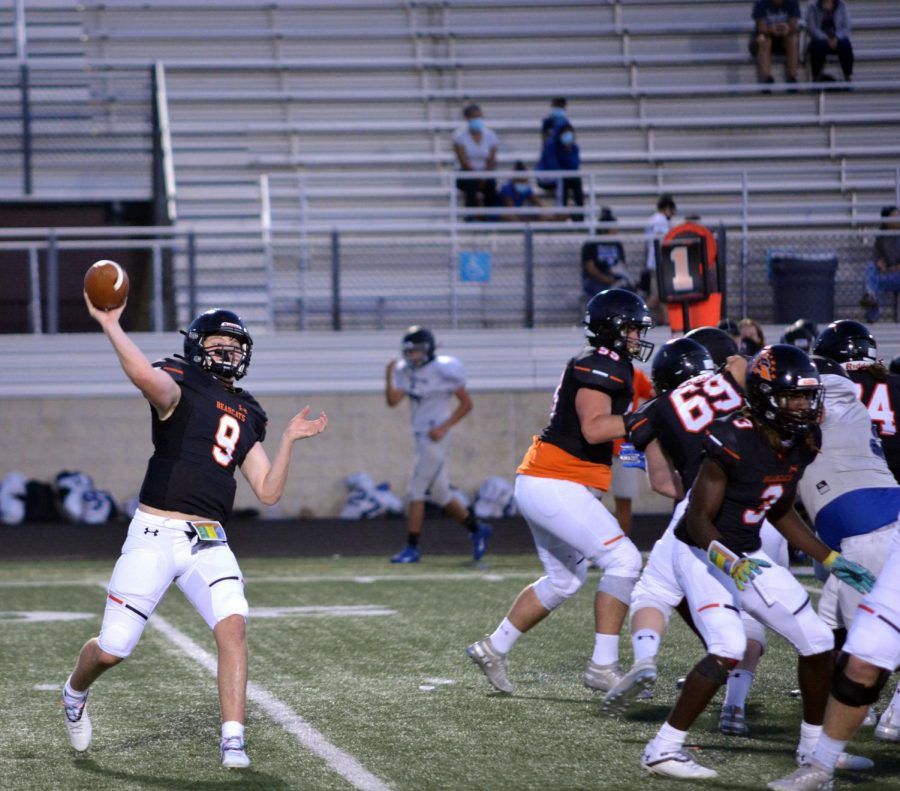 Sophomore quarterback Brant Hayden completes a pass in the North Forney scrimmage on Sept. 17.