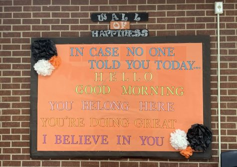 """Throughout September, the counselors displayed encouraging quotes on """"the wall of happiness"""" to remind students that they aren't alone."""
