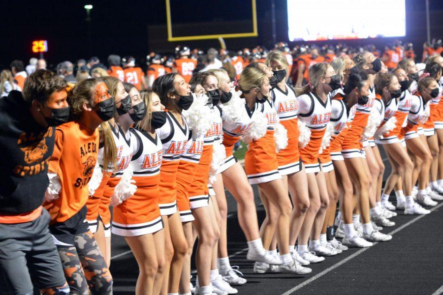 Spirit Squad and varsity Cheerleaders perform the