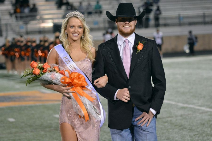 Homecoming queen winner, senior Ashley Campbell poses with Logan Childs.