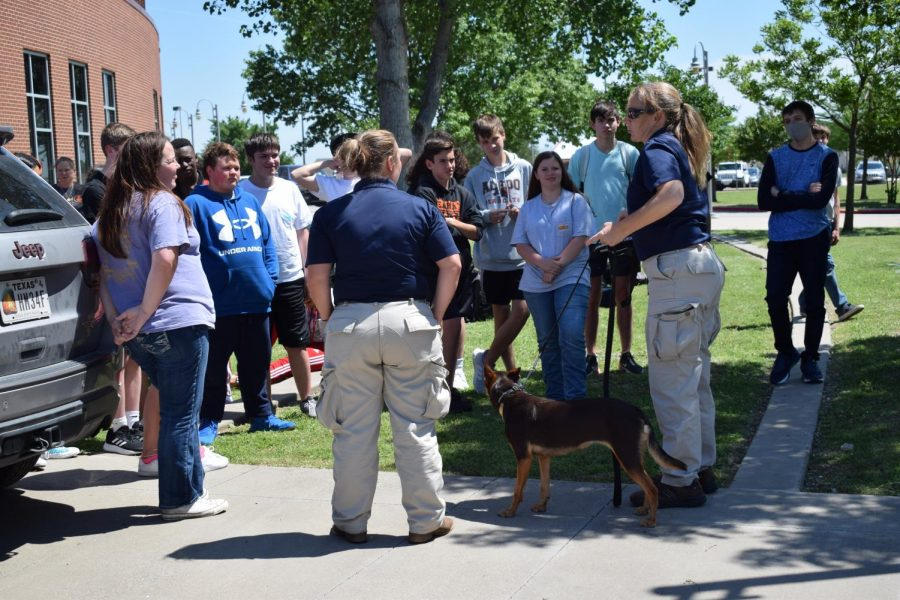 A trainer informs ninth graders how drug dogs are trained and why they are important.