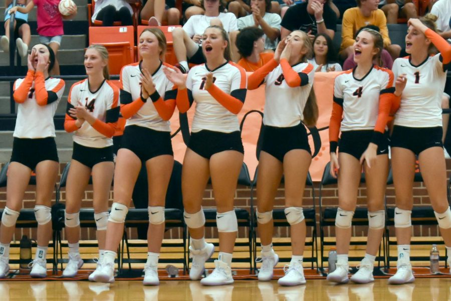 The varsity team cheers from the sideline in the game versus Joshua Aug. 24.