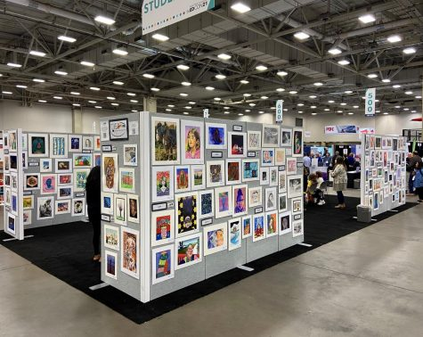 Art exhibits displayed at the Kay Bailey Hutchinson Convention in Dallas, Texas.